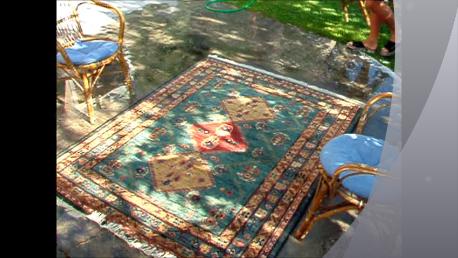 preparativi per asciugare il tappeto