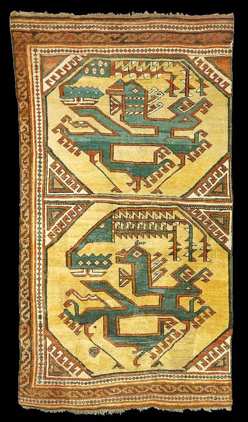 Tappeto ottomano con rappresentato il motivo del drago e della fenice. Islamishe Kunst di Berlino
