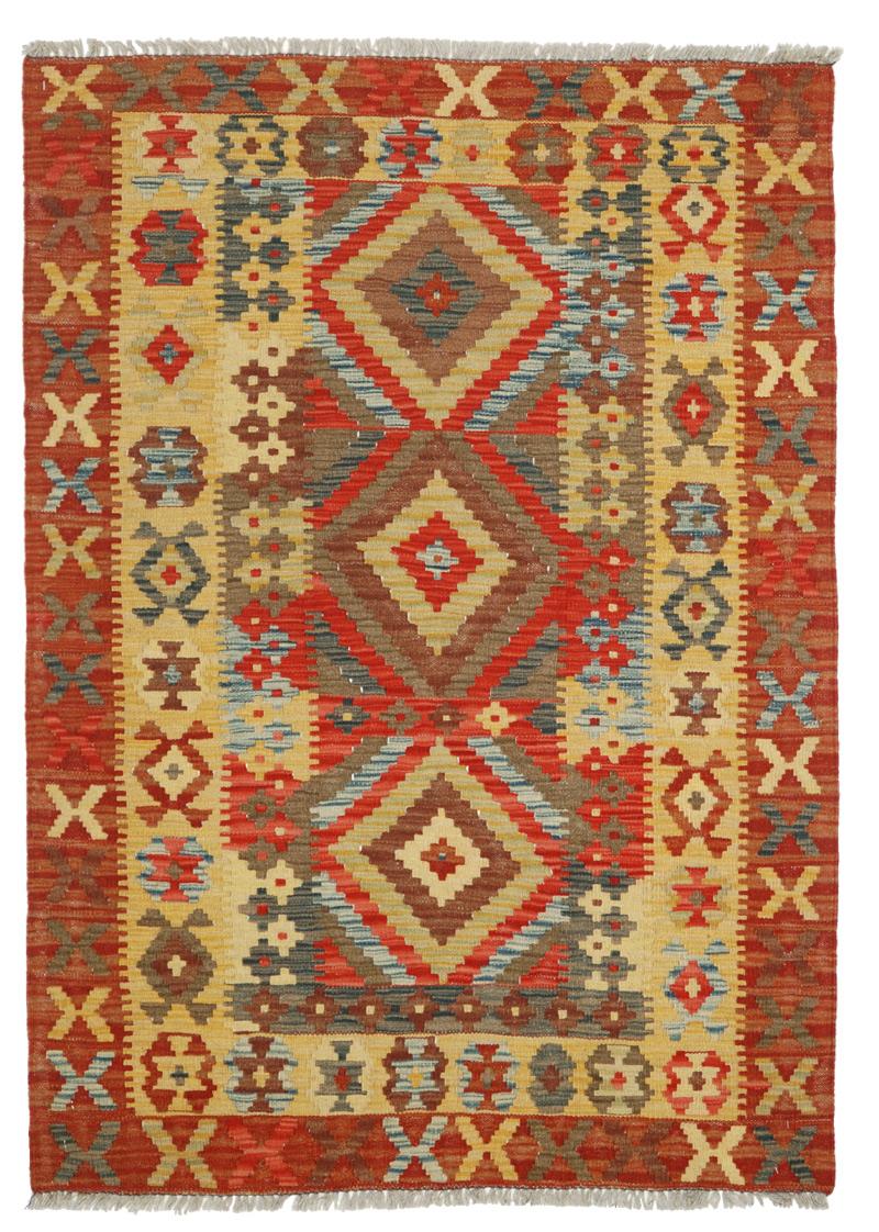 Kilim afgano misura zaronim con tre cornici, tre medaglioni. Interessante la bordura interna a motivo Medacil che si unisce ai rombi che costituiscono il centro del kilim.